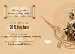 Thông báo lịch nghỉ lễ Giỗ tổ Hùng Vương năm 2021